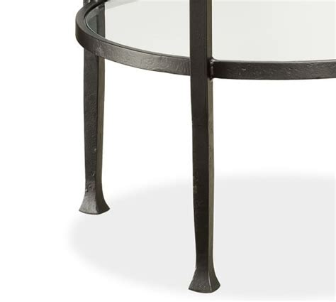 bronze round coffee table tanner round coffee table bronze finish pottery barn