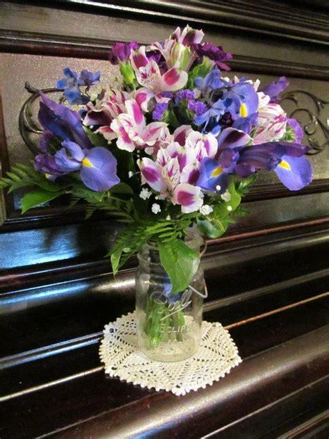 Wedding Bouquet Of Purple Mini Carnations Blue Delphinium