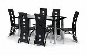 Glass Dining Table Houston by Black Glass Dining Room Table Set And With 4 6 Or 8 Faux Leather Chairs Chrom