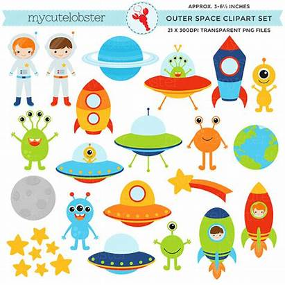 Space Outer Clipart Alien Clip Planets Spaceship