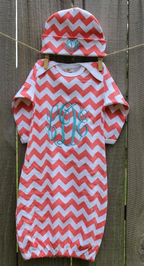 items similar  chevron personalized infant baby gown layette  hat beanie monogrammed