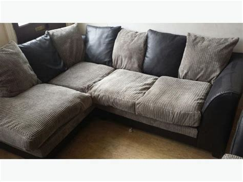 grey fabric corner black suede and grey fabric corner sofa two seater poof
