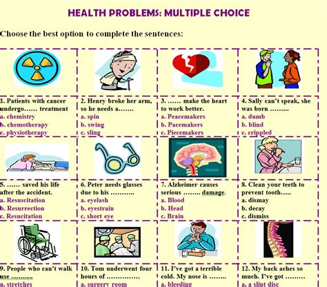 Health Problems Multiple Choice Worksheet