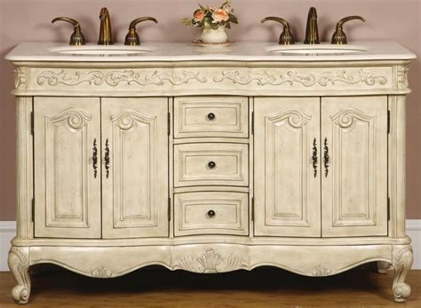 58 Antique White Vanity   58inch Double Sink Chest   58