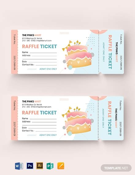 birthday raffle ticket template word psd apple pages