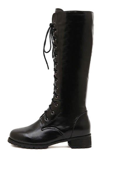 black faux leather lace  riding boots   womens