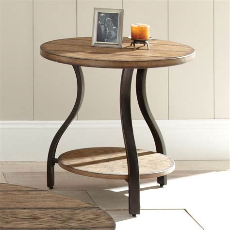 wood and metal end tables side table light oak wood top metal base