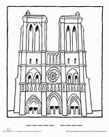 Dame Notre Coloring Drawing Famous Worksheets Pages Paris Cathedral Worksheet Landmarks Education France French Landmark Crafts Tower Artists Printable Eiffel sketch template