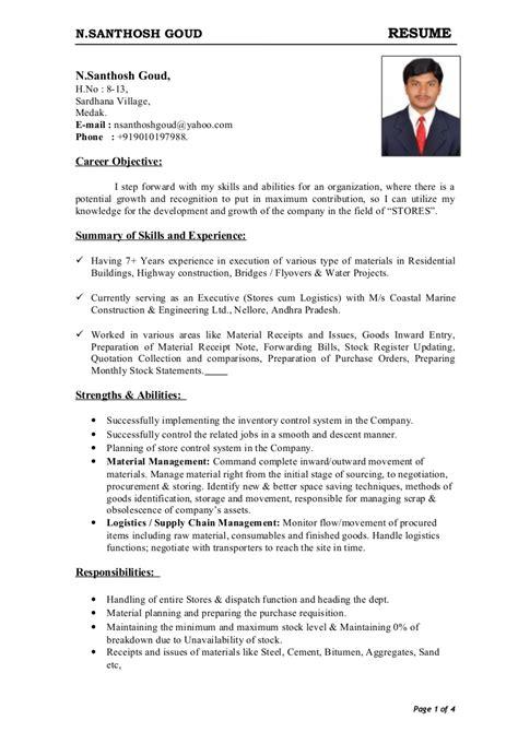 storekeeper cv format  word  perfect resume format