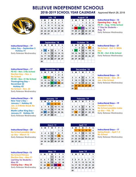 bellevue high school district calendar