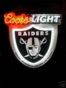Coors Light Oakland Raiders Neon beer sign