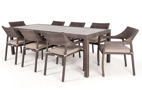 8 10 Person Patio Table by Ciro Rectangular Synthetic Wood Top Outdoor Dining Table