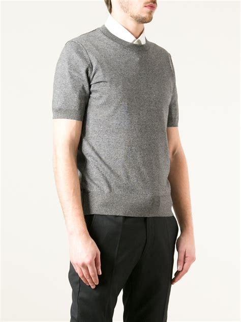 sweater shorts lyst dolce gabbana sleeve sweater in gray for