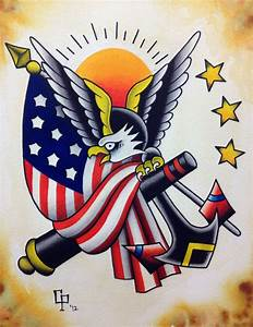 Patriotic eagle with american flag and anchor tattoo ...