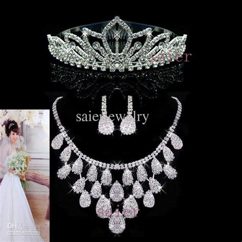 Necklaces Earrings Crown Bride The Wedding Dress