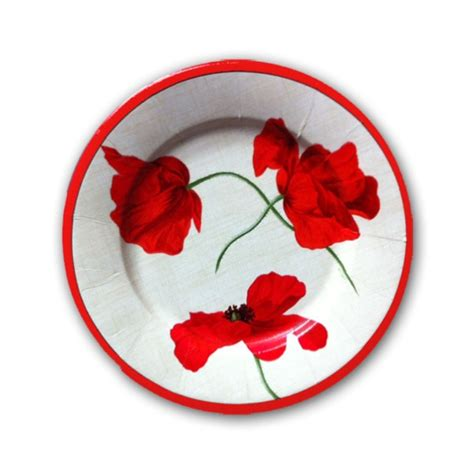 dancing poppies ivory dessert plates paperstyle