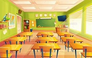Vector Cartoon Empty School Classroom | Cenário anime ...