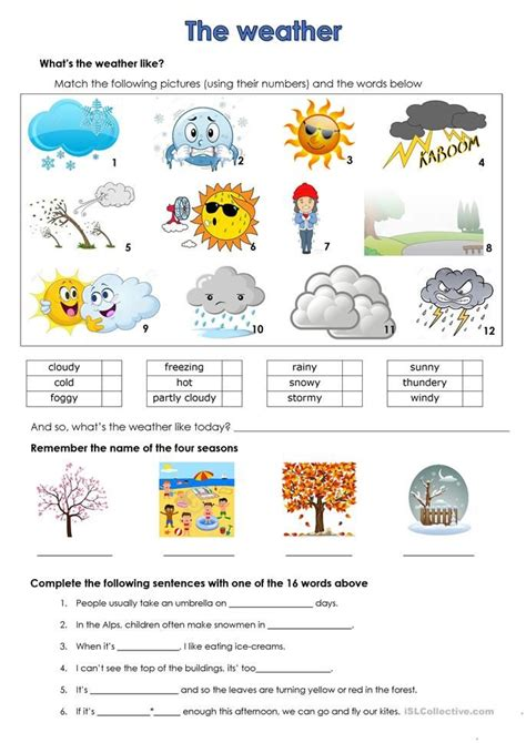 weather worksheet  esl printable worksheets