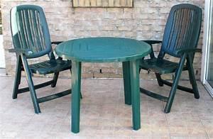 Salon De Jardin Table Ronde : salon de jardin vert table ronde et 2 fauteuils relax ~ Teatrodelosmanantiales.com Idées de Décoration