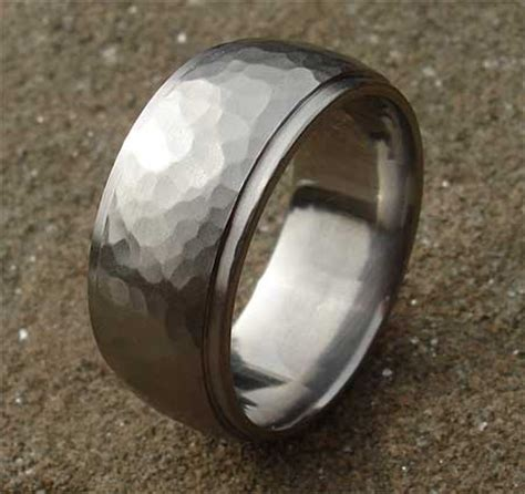 titanium hammered plain wedding ring love2have in the uk