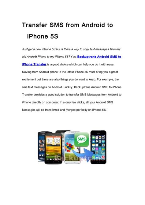 transfer from android to iphone transfer sms from android to iphone 5s with ease