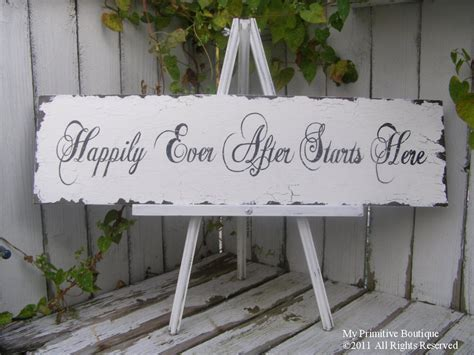 shabby chic fairytale happily ever after starts here sign wedding sign shabby chic home decor fairy tale wedding