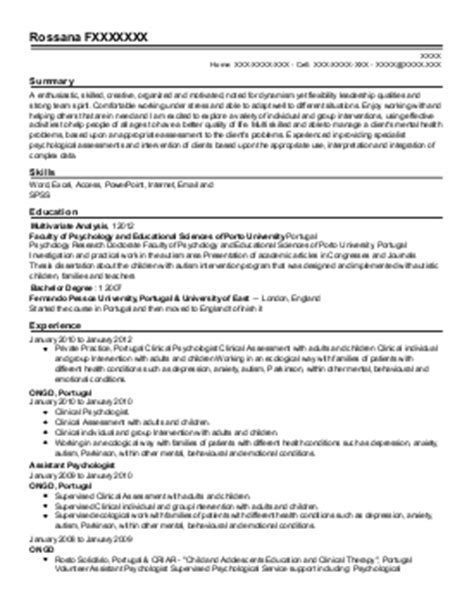 Clinical Psychologist Resume Template by Clinical Psychology Cv Exles Psychology Cv S Livecareer