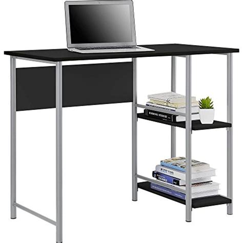 mainstays basic student desk features side shelving storage black and silver