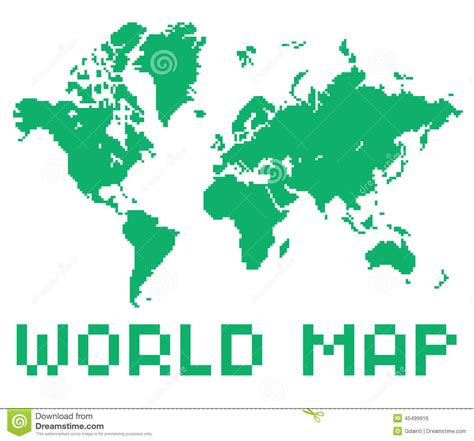 pixel style world map green color shape stock vector