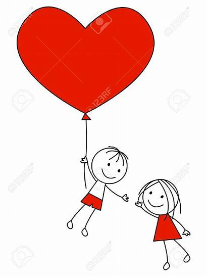Couple Cartoon Clipart Heart Drawing Balloon Vector