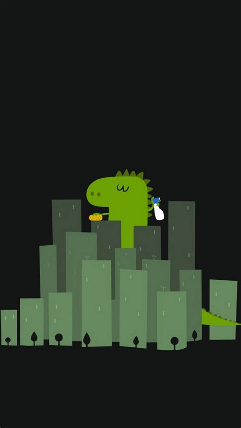 funny dinosaur cleaning buildings iphone  wallpaper