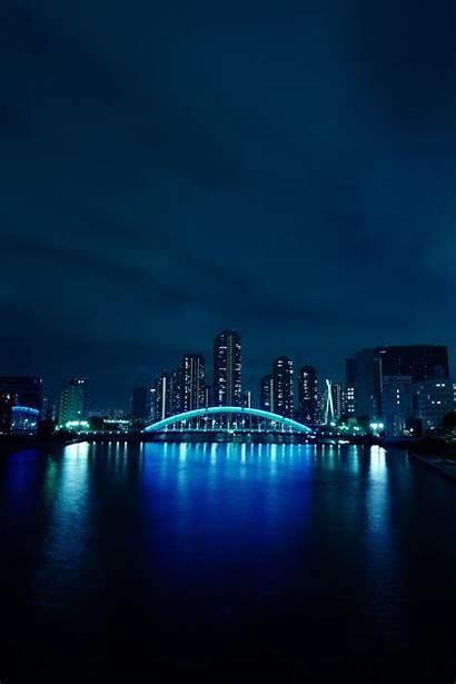 Malam Terkeren Biru Langit Cityscape Refleksi Kaki