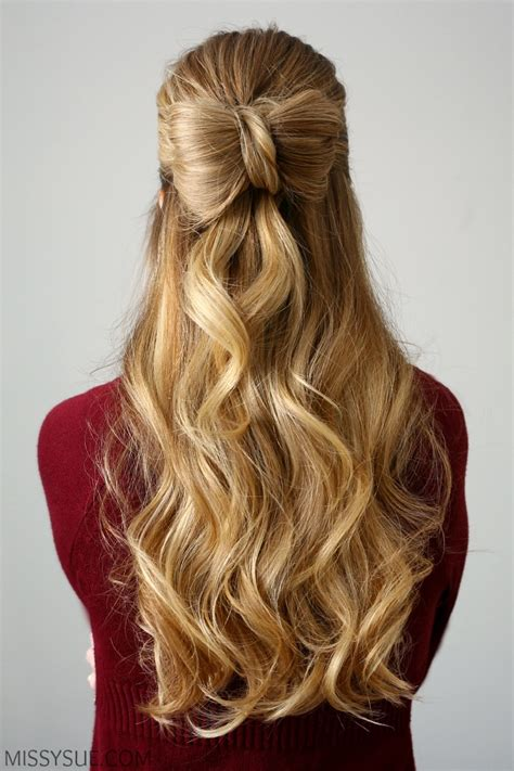 different hair up styles half up hair bow sue 5458