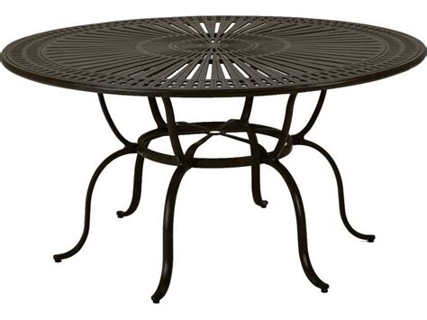 outdoor dining table with umbrella hole tropitone kd spectrum cast aluminum 66 round dining table