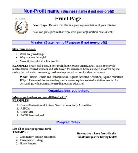 business plan for non profit template free 21 non profit business plan templates pdf doc free