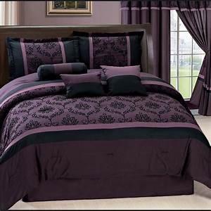Purple, Laviano, Flocking, Comforter, Set, Queen, W, Matching