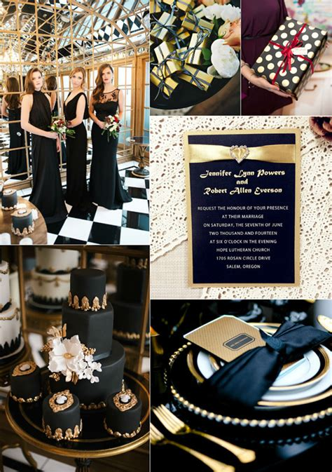 luxurious black  gold wedding ideas