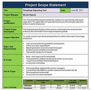 Project scope statement template download now free for Scope documents project management