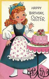 Vintage 1960s Die-Cut Happy Birthday Sister Greetings Card ...