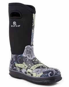 Roper womens rugged 12quot waterproof neoprene barn boots ebay for Barn boots womens
