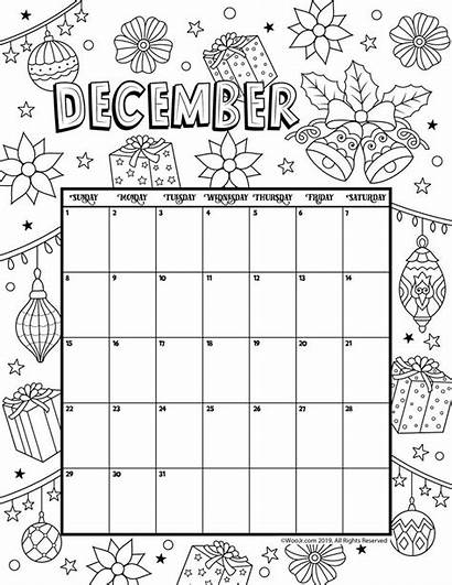 Calendar Coloring Christmas December Printable Pages November