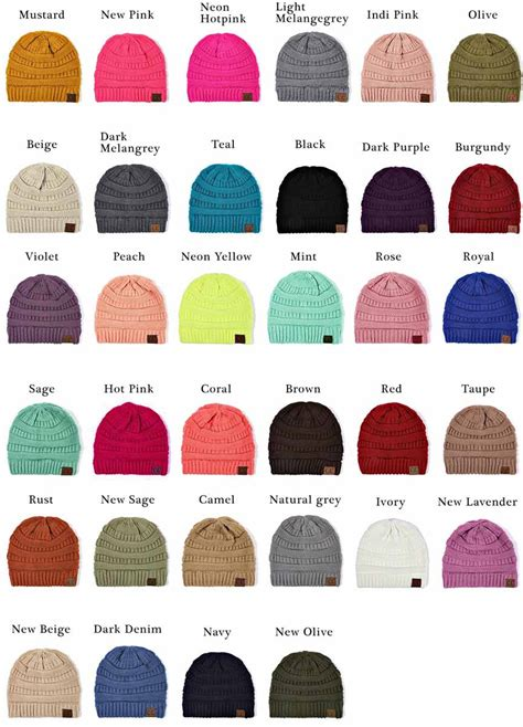 solid color groove knit beanie hats  cc brand