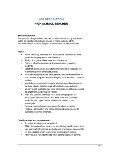 school brief template high school description template sle form biztree