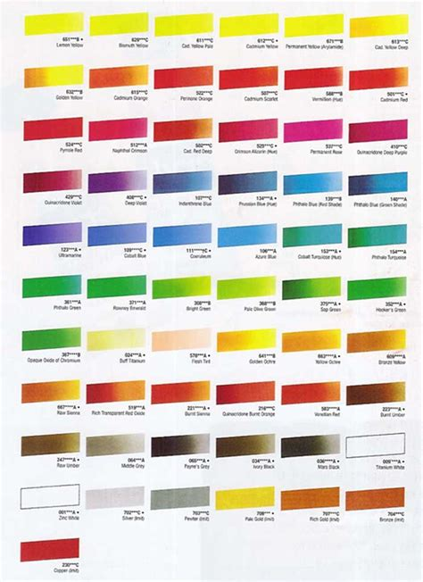 cryla acrylic colour chart at online discounts color