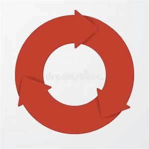 Vector Red Life Cycle Arrow Diagram  3 Steps  Stock Vector