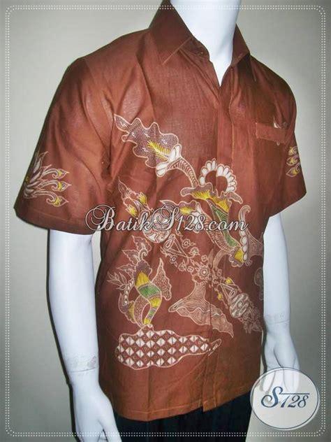baju batik lelaki warna coklat batik cabut tulis