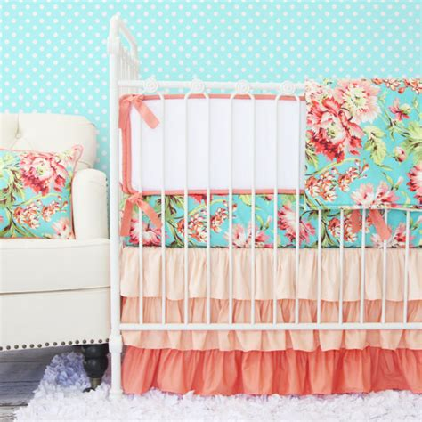 Caden Lane Baby Bedding by Coral Camila Ruffle Baby Bedding Set Crib Set Coral Teal