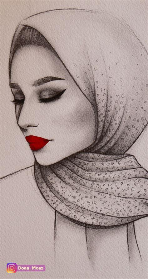pencil sketch semi profile portrait   girl  hijab