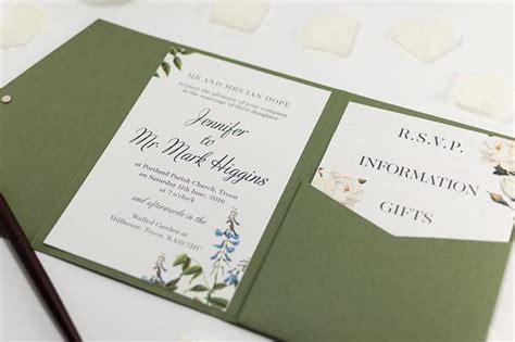 botanic wedding invitation in olive green pocketfold wallet com bossa luxury wedding stationery