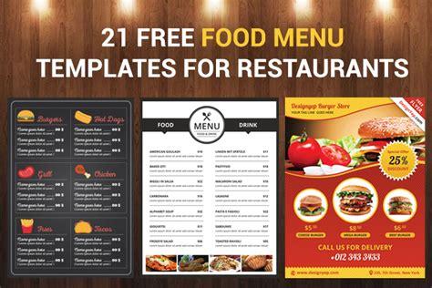food menu templates  restaurants designyep